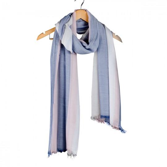 Schal Modal Blau Pink 90 x 190cm