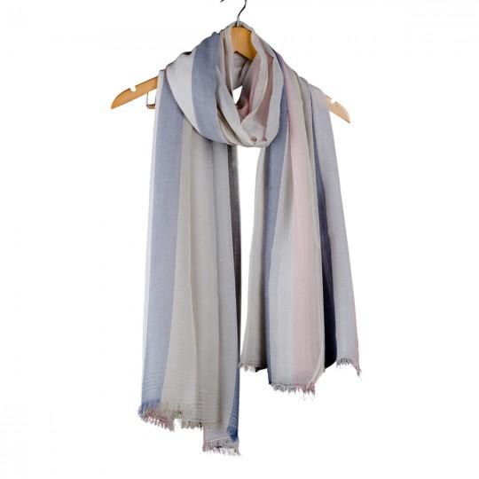Schal Modal Beige Blau 90 x 190cm