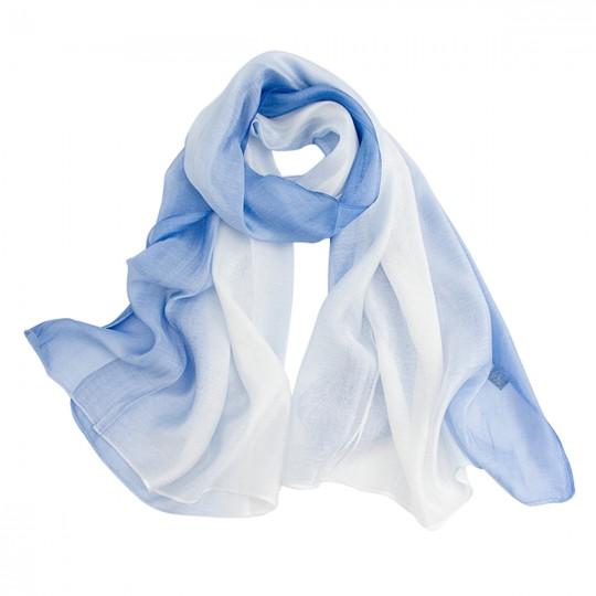 Schal Seiden Modal Blau 80 x 190cm
