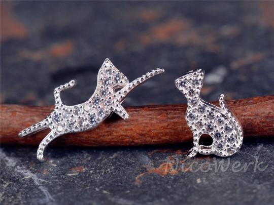 Silber Ohrstecker Katze