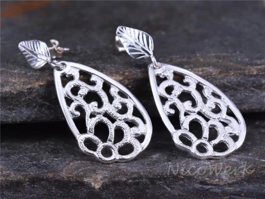 Silber Ohrringe Blatt