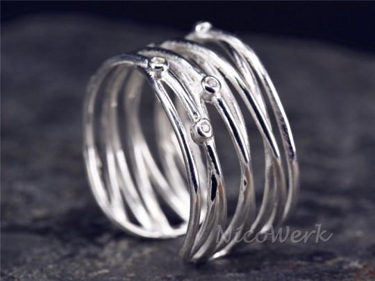 Silberring Mehrreihig