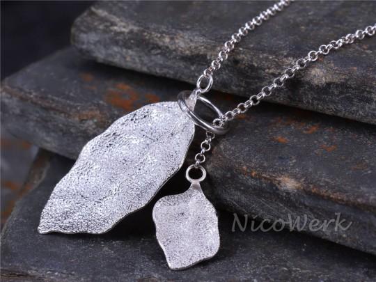 Silberkette mit Anhänger Blatt