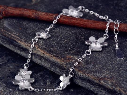 Silberarmband Blume