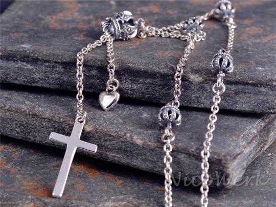 Silberkette mit Anhänger Kreuz