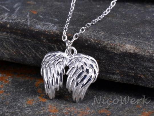 Silberkette mit Anhänger Engelflügel