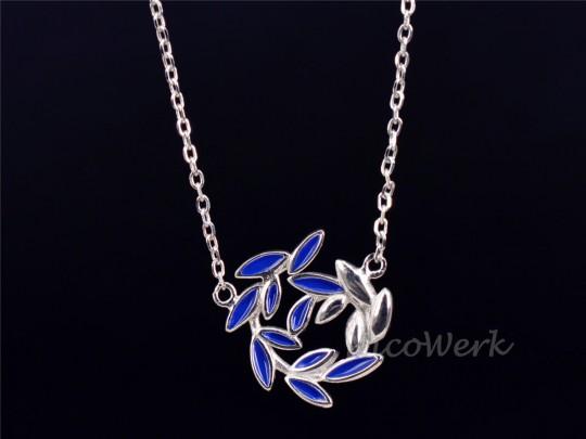 Silberkette mit Anhänger Olivenzweig