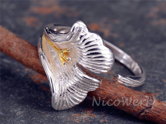 Silberring Ginkgoblatt