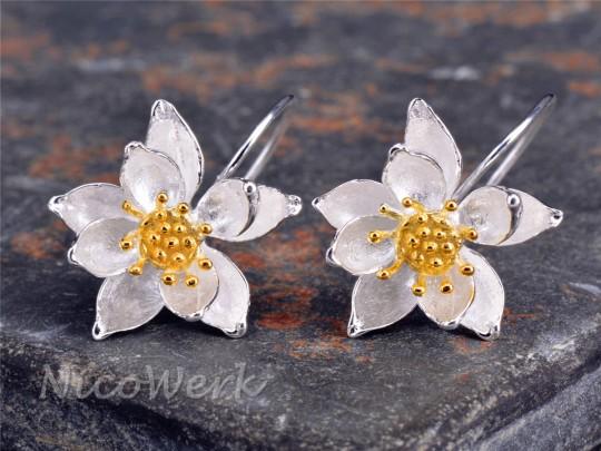 Silber Ohrringe Lotus