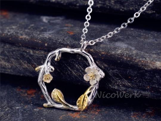 Silberkette mit Anhänger Ast