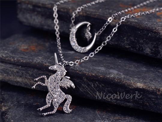 Silberkette mit Anhänger Einhorn