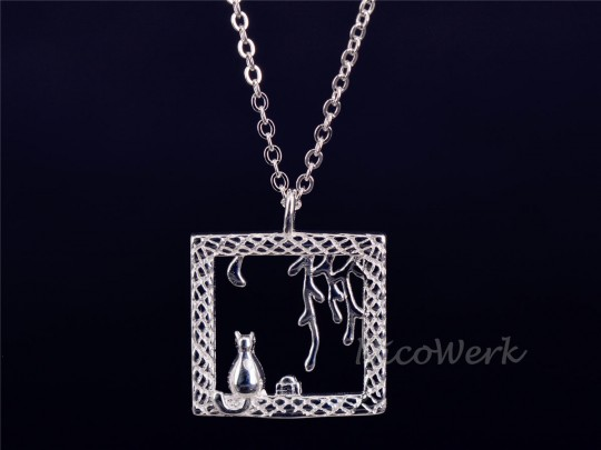 Silberkette mit Anhänger Katze