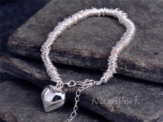 Silberarmband Herz