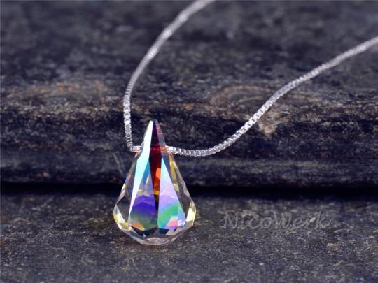 Silberkette mit Anhänger Kristall