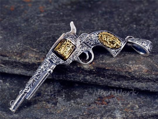 Silberanhänger Revolver