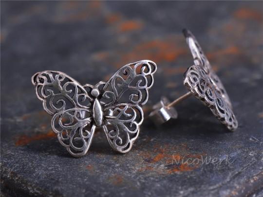 Silber Ohrstecker Schmetterling