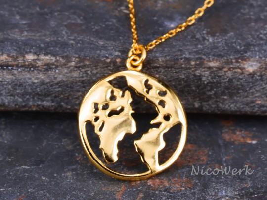 Silberkette mit Anhänger Weltkarte