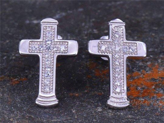 Silber Ohrstecker Kreuz