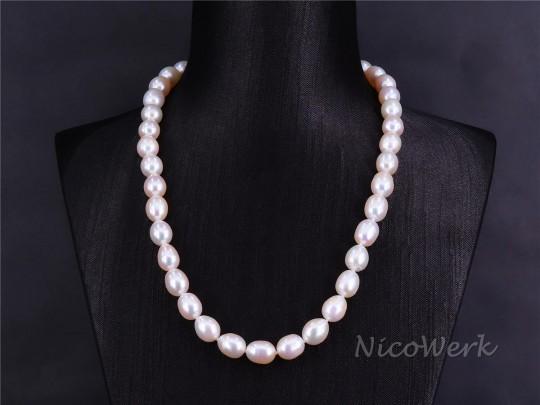 Perlenkette Oval 10mm Collier