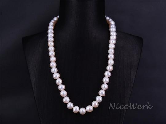 Perlenkette Perfekt Rund 9-10mm Collier