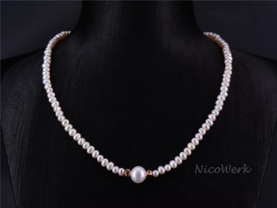 Perlenkette Perfekt Rund 8-9mm Collier