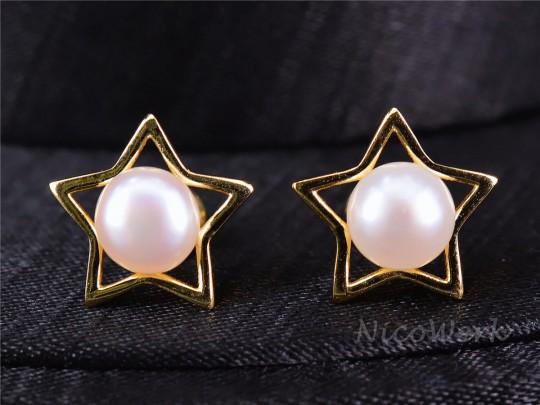 Perlenohrringe Stern