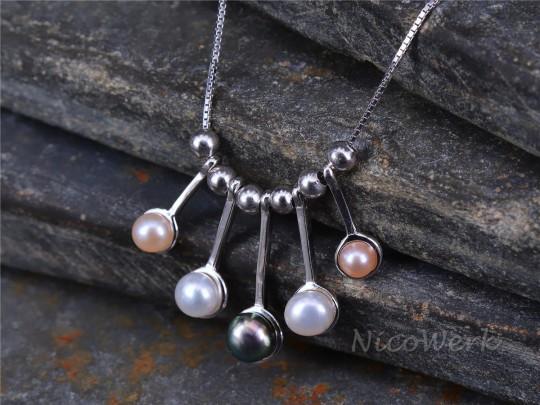 Silberkette mit Anhänger Perle