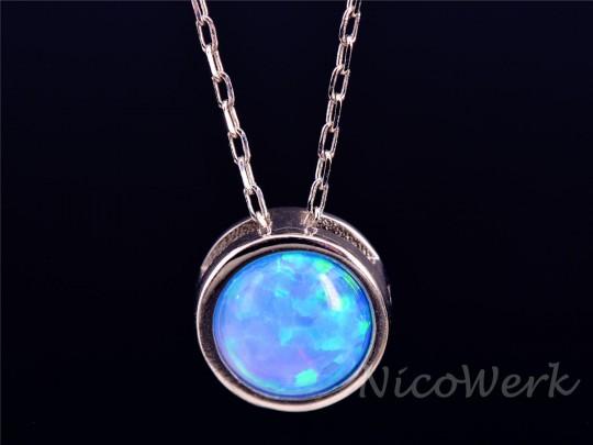 Silberkette mit Anhänger Opal