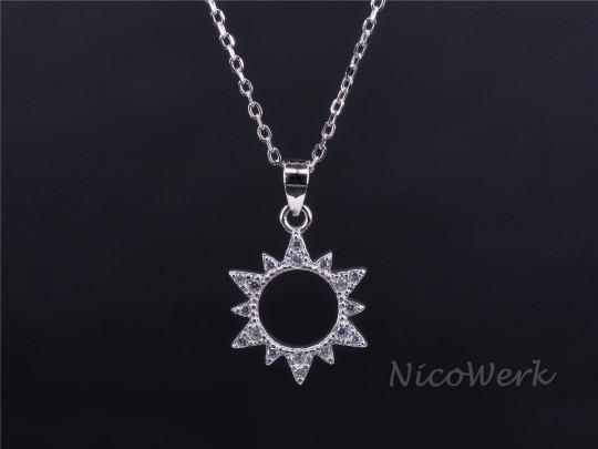 Silberkette mit Anhänger Sonne
