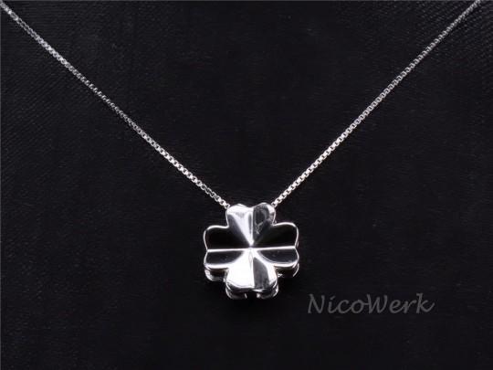 Silberkette mit Anhänger Kleeblatt