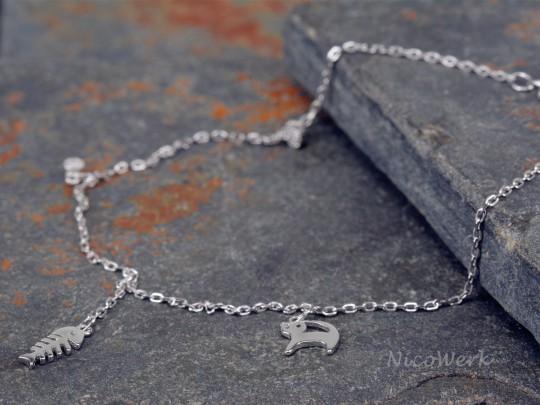 Fußkettchen Silber Fischgräte Katze