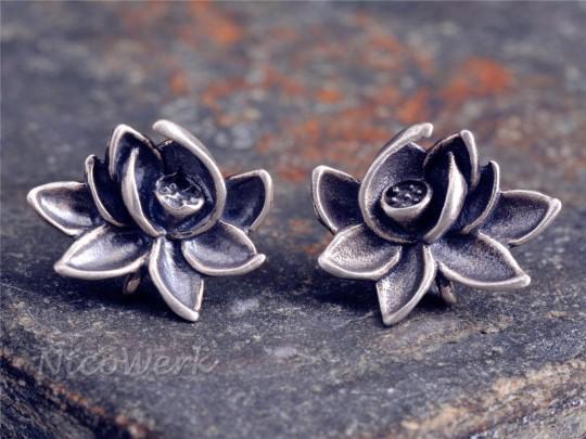 Silber Ohrstecker Lotus