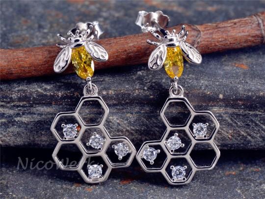 Silber Ohrringe Biene