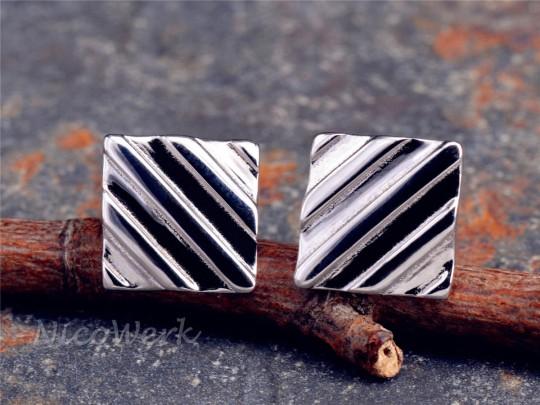 Silber Ohrstecker Rechteck