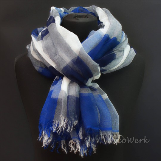 Schal Seiden Modal Blau 130 x 180cm