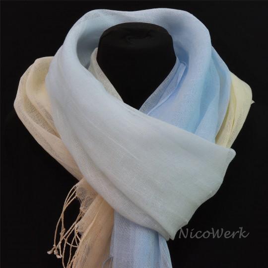 Schal Leinen Beige Blau 55 x 180cm