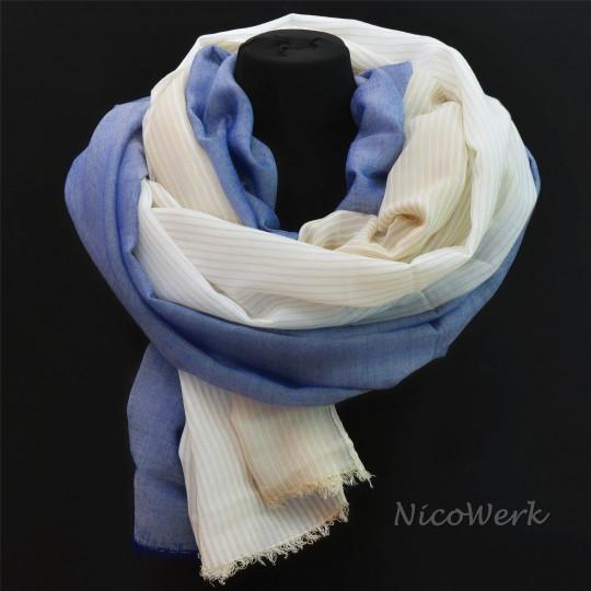 Schal Modal Blau Beige 95 x 190cm