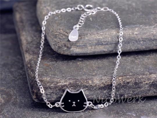 Silberarmband Katze