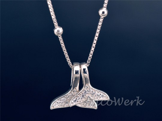 Silberkette mit Anhänger Walschwanz
