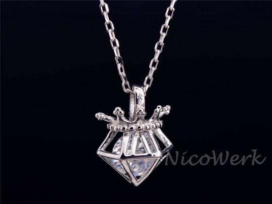 Silberkette mit Anhänger Krone