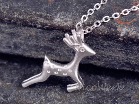 Silberkette mit Anhänger Hirsch