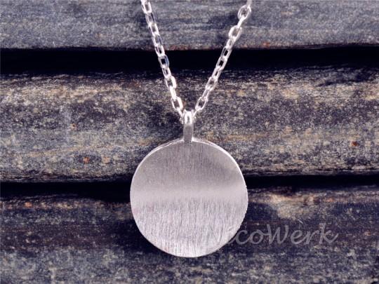 Silberkette mit Anhänger Gewölbt