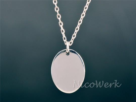 Silberkette mit Anhänger Oval