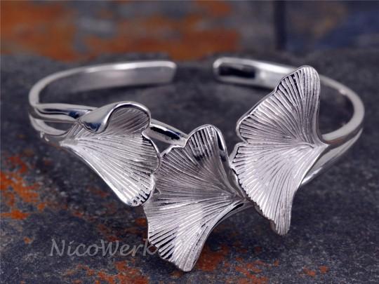 Silber Armreif Ginkgo-Blatt