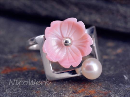 Silberring Blume