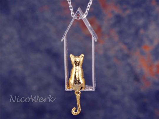 Silberanhänger Katze