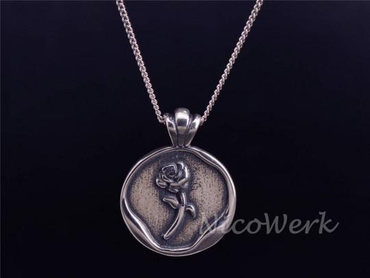 Silberkette mit Anhänger Rose