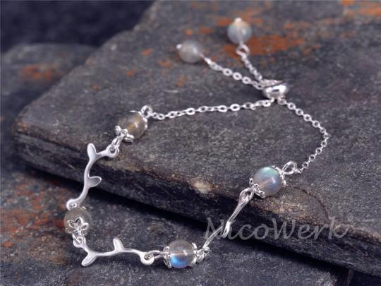 Silberarmband Mondstein