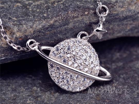 Silberkette mit Anhänger Saturn