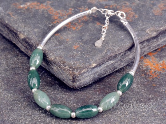 Silberarmband Jade